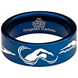 Blue Tungsten Carbide Swimming Sports Inspired Ring Wedding Band Anniversary Ring for Men and Women 8mm Size 9