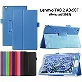 Funda para la Lenovo Tab 2 A8-50 Tablet,Azul claro Funda de Cuero BookCover Flip Case Carcasa Piel para Lenovo Tab 2 A8-50 Tablet de 8'' Pulgadas(2015 Edtion) con Soporte
