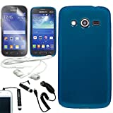 samsung galaxy avant [ARENA] SOLID BLUE FULL TPU RUBBER FROSTED SKIN COVER FITTED SOFT GEL CASE for SAMSUNG GALAXY AVANT G386 + FREE ARENA ACCESSORY KIT