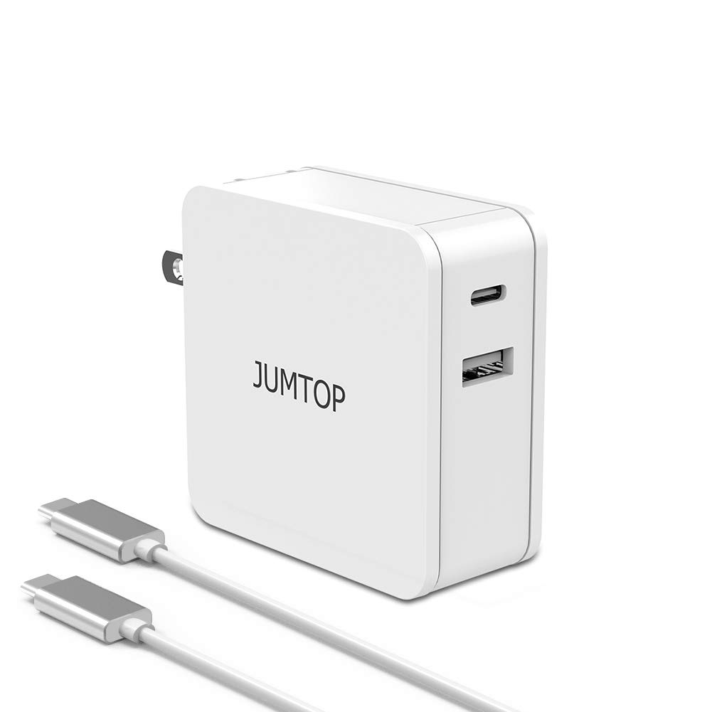 JUMTOP PD Charger, USB Type C with 60W Power Delivery 3.0 Wall Charger Fast Charging, UL Certified Ultra-Compact Travel Foldable Plug Quick Charge,Compatible USB-C Devices(White) by JUMTOP