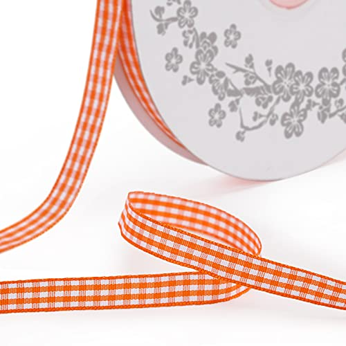 VGoodall Reddish-Orange Gingham Ribbon, 3/8 x 50Yd Picnic Craft Ribbon Reddish-Orange Ribbons for Hair Accessories Craft and Christmas Gift Wrapping