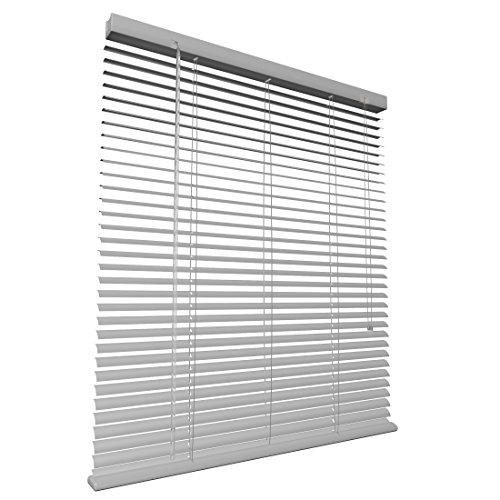 Levivo Aluminium-Jalousie mit Schnurzug, in der Länge individuell kürzbar, Silber, 100 x 130 cm