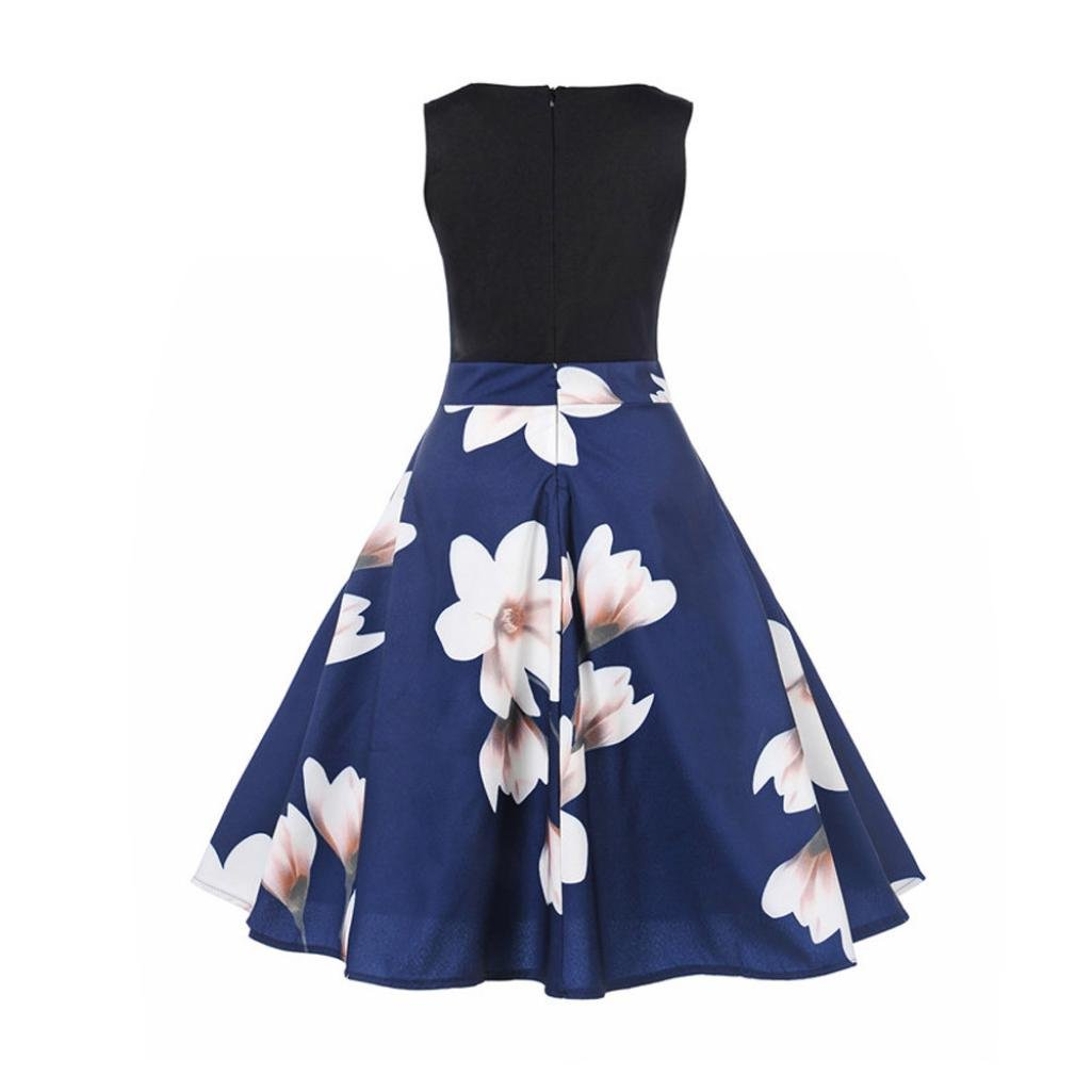 51bea7c673d Amazon.com  vmree Women Vintage 1950 s Audrey Hepburn Style Dress Magnolia  Print Waisted Rockabilly Swing Sundress  Clothing
