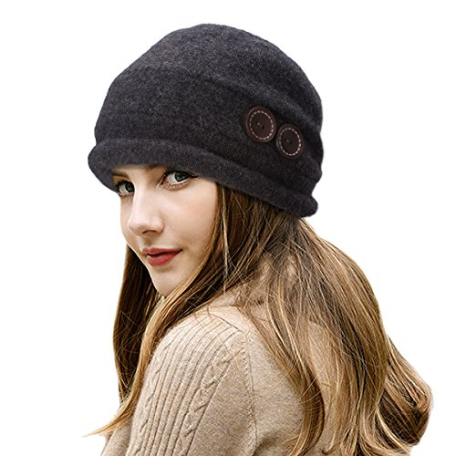 (Lawliet New Womens 100% Wool Slouchy Wrinkle Button Winter Bucket Cloche Hat T178 (Dark Gray))