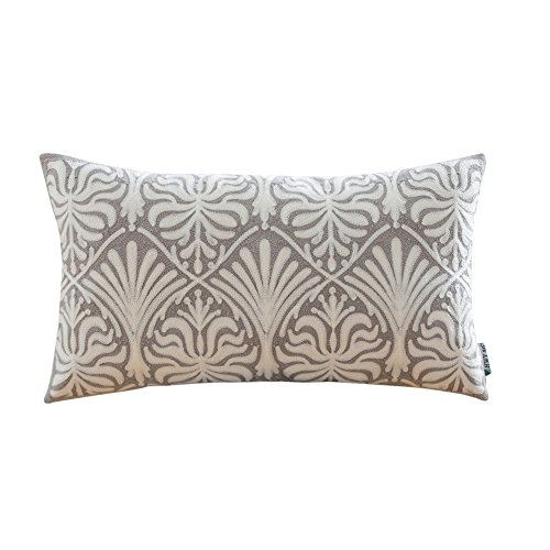 HWY 50 Cotton Embroidered Decorative Rectangle Throw Pillow Covers Cushion Cases for Couch Sofa Bed Bedroom Grey European Simple Geometric Floral Lumbar Pillowcases 12 x 20 inch 30 x 50 (Lumbar Pillow Cover)