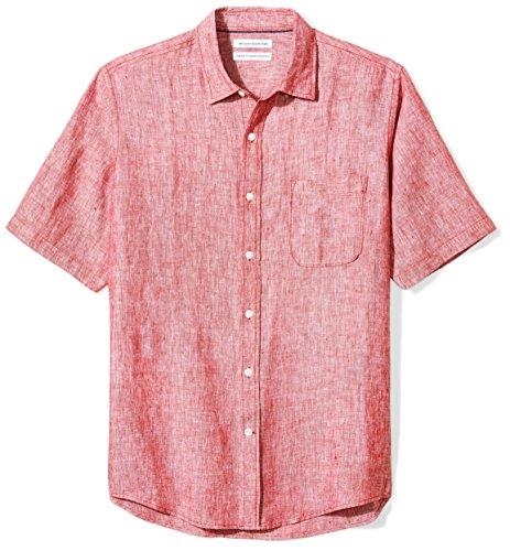 Amazon Essentials Men's Regular-Fit Short-Sleeve Linen Shirt, Red, XX-Large (Red Linen)