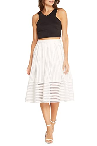 Women's Fashion Trendy Eyelet Box Pleated Midi High Waist Skirt
