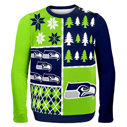 seattle seahawks busy block ugly sweater medium - Seahawks Christmas Sweater