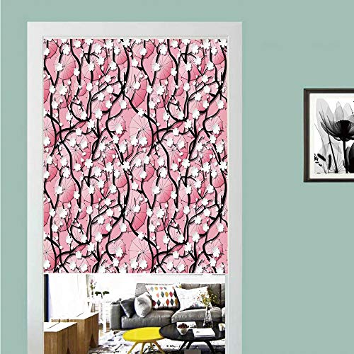 3D printed Magic Stickers Door Curtain,Apartment Decor,Sakura Tree Flowers on Umbrellas and Curved Branches Romantic Blooms Artsy,Black Pink ,Privacy Protect for Kitchen,Bathroom,Bedroom(1 Panel)