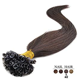 20″(50cm) 100 Strands Straight Pre Bonded U Nail Tip Keratin Fusion Remy Human Hair Extensions 0.5g Per Strand [Set Weight: 50grams] (Color #2 Darkest Brown)