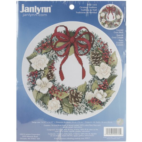 Janlynn 14 Count Christmas Traditions Counted Cross Stitch Kit, 14-1/4 by (Janlynn Christmas Cross Stitch)