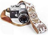 White Woven Vintage Camera Strap Belt For All DSLR Camera. Embroidered Elegant Universal DSLR Strap, Floral Pattern Neck Shoulder Camera Strap for Canon, Nikon,Pentax, Sony,Fujifilm and Digital Camera