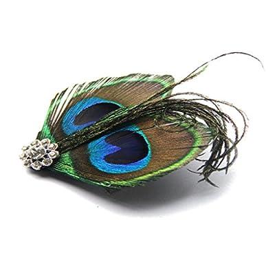 Jelinda Women Fashion Natural Peacock Feather Headband Bridal Bridesmaid Fascinator Hair Clip (NO1)