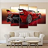 PEACOCK JEWELS [LARGE] Premium Quality Canvas Printed Wall Art Poster 5 Pieces/5 Pannel Wall Decor Red Cool Sport Car Painting, Home Decor Pictures - Stretched