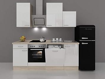 Küchenzeile 280 Cm Hochglanz Weiß Inkl Retro Kühlschrank Und