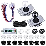 Arcade Gaming Kits, Quimat 2 Players Arcade Game DIY Kits Zero Delay USB Encoder Board,Joysticks and Push Button for Mame Jamma & Other Fighting Games,Compatible with Windows and Raspberry Pi
