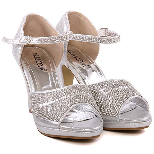 Unze Zapatos para mujer Brillante Cross Over correa superior diseño de la tela de la Corte Plateado