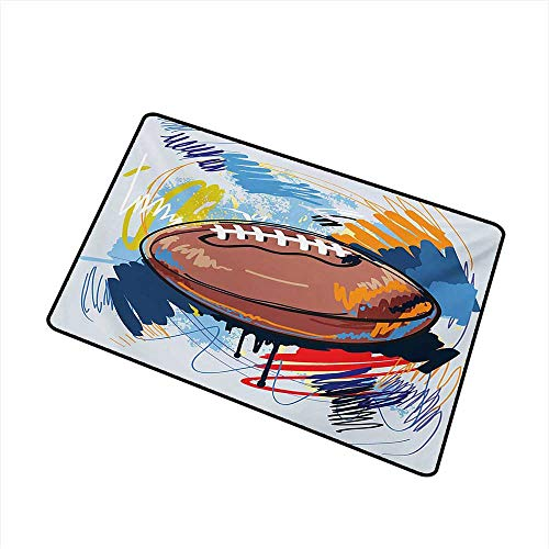 Fashion Door mat Sports Diamond Shape Rugby Ball Sketch with Colorful Doodles Professional Equipment League W20 xL31 Mildew Proof