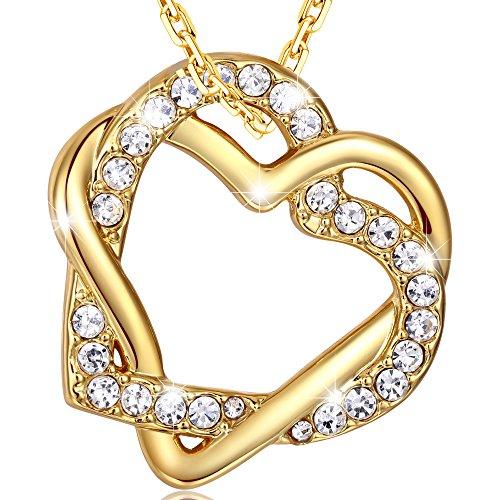 """MARENJA Fashion-Valentinstag Geschenke für Frauen-Damen Kette mit Anhänger""""Double winkelde Herz"""" Vergoldet Kristall 45+5cm Modern Schmuck"""