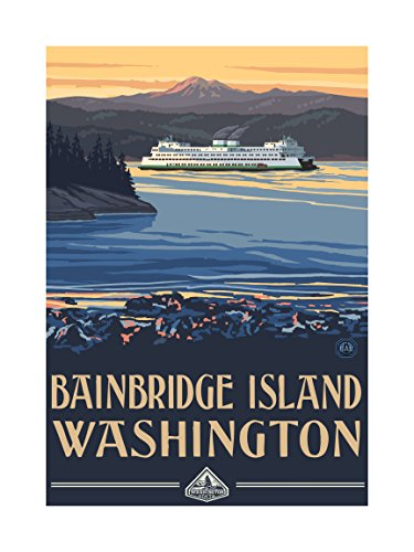 Northwest Art Mall Pal-1895L PSF Bainbridge Island Washington Ferry Print by Artist Paul A. Lanquist, 18 by 24-Inch (Best Places To Visit In Sequoia National Park)
