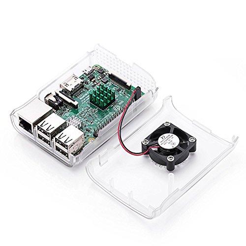 Raspberry Pi 3 Fan Case, Aukru Clear Case with Cooling Fan Heatsink for Raspberry Pi 3 Model B Accessories Pi 2 Model B + Desktop Starter Kit (Transparent Case, Cooling Fan, Heat sink) by Aukru (Image #4)