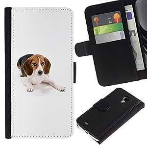 LASTONE PHONE CASE / Lujo Billetera de Cuero Caso del tirón Titular de la tarjeta Flip Carcasa Funda para Samsung Galaxy S4 Mini i9190 MINI VERSION! / Beagle Foxhound Dog Pet White
