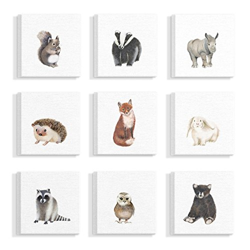 The Stupell Home Decor Collection Watercolor Woodland Animal Illustration Stretched Canvas Wall Art, Multicolor made in Rhode Island