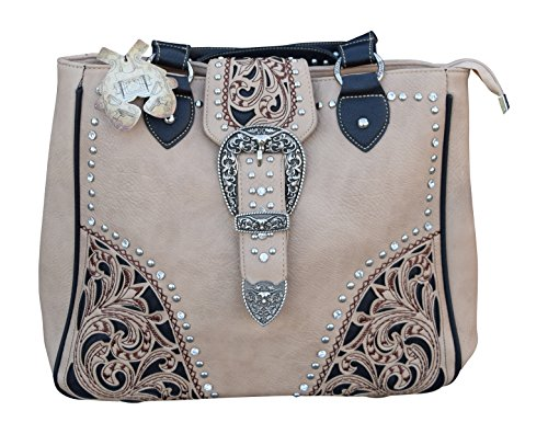 ed Opening Concealed Carry Shoulder Purse with Embroidered Western Look with Rhinestones (Beige) ()