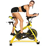 ANCHEER Indoor Cycling Bike Pro Indoor Cycling Bike with Pulse for Health and Fitness MT0422 (Yellow)