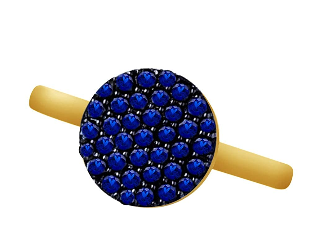 Wishrocks Round Cut Simulated Blue Sapphire Cluster Ring in 14K Gold Over Sterling Silver
