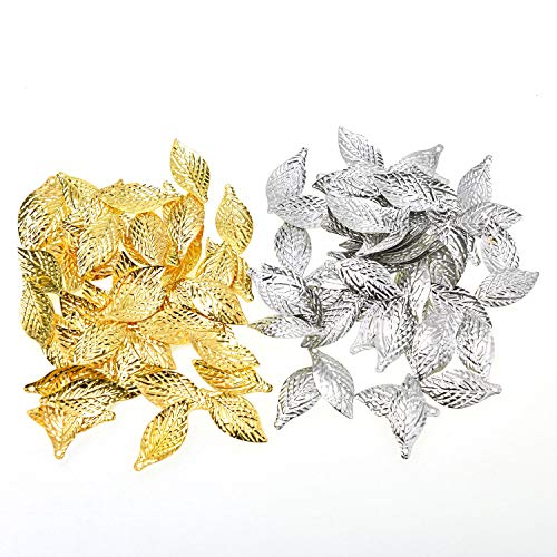 Monrocco 200 Pcs Mixed Metal Alloy Filigree Leaf Charms Pendant Bulk for Bracelets Jewelry ()