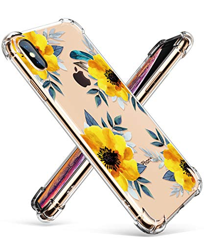 GVIEWIN Clear Case for iPhone Xs Max, Flower Pattern Design Soft & Flexible TPU Ultra-Thin Shockproof Transparent Floral Cover, Cases for iPhone Xs Max 6.5 Inch 2018 (Sunflowers/Yellow)