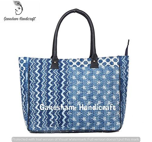 Indio hecho a mano azul bordado bolsas bolso de mano algodón Boho Hobo bolso simple Hippe deporte para mujer bolsas de bolso de mano Fashion Designer para mujer india bolsas messenger bag bolsa de la