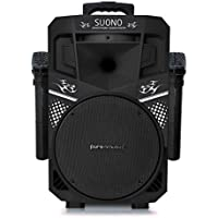 Pure Acoustics Wireless Portable Bluetooth PA Audio Speaker with 2 Wireless Microphones FM Radio Party Karaoke Machine Sound System MCP-75 Suono Soundstream Black & Black Gril