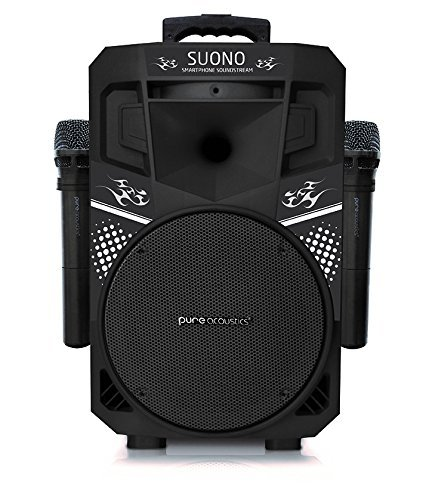 (Pure Acoustics Wireless Portable Bluetooth PA Audio Speaker with 2 Wireless Microphones FM Radio Party Karaoke Machine Sound System MCP-75 Suono Soundstream Black & Black)