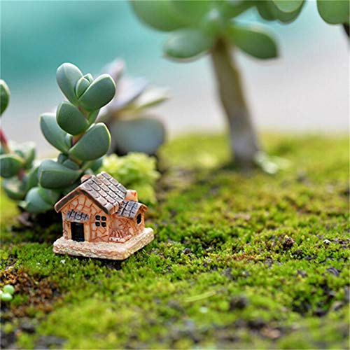(JIAHUADE 3Pcs Mini Small House Cottages DIY Toys Crafts Figure Moss Terrarium Fairy Garden Ornament Landscape Decor Random Style)