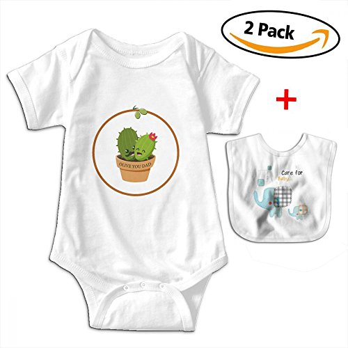 POOPEDD Cactus Olive You Dad Father Gift Unisex Baby Short Sleeve Onesies ONE-PIECE SUIT by POOPEDD