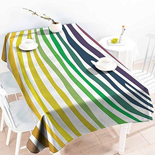 (Homrkey Washable Table Cloth Zebra Print Decor Collection Colorful Zebra Stripes Pattern in Cheering Rainbow Color Modern Style Art Red Yellow Green Washable Tablecloth W54 xL84)