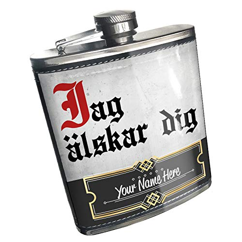 (Neonblond Flask I Love You Swedish Classic Print from Sweden Custom Name Stainless Steel)