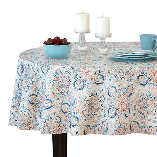 Elrene Home Fashions Lola Medallion Stain Resistant Vinyl Tablecloth, 70