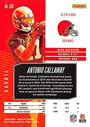 Amazon.com  2018 Absolute Football  150 Antonio Callaway Rookie RC Rookie  Cleveland Browns Official NFL Trading Card made by Panini  Collectibles    Fine Art c95696acd