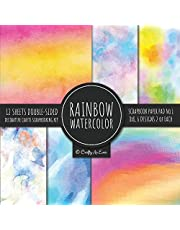 Rainbow Watercolor Scrapbook Paper Pad Vol.1 Decorative Crafts Scrapbooking Kit Collection for Card Making, Origami, Stationary, Decoupage, DIY Handmade Art Projects
