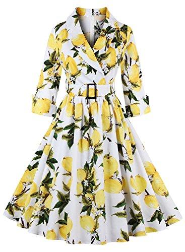 Glamour Belted Belt (Futurino Women's Radiant Lemon Print Vintage Lapel A-line Belted Midi)