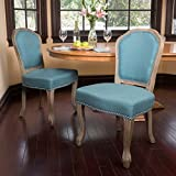 Christopher Knight Home 300254 Godfrey Fabric Dining Chair (Set of 2), Dark Teal For Sale