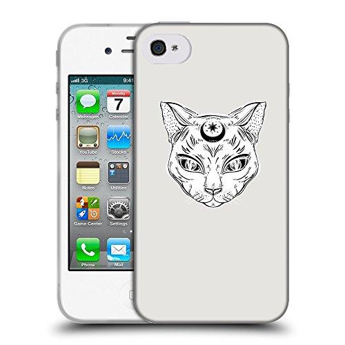 GoGoMobile Coque de Protection TPU Silicone Case pour // Q09640631 lune Chat 2 Platine // Apple iPhone 4 4S 4G