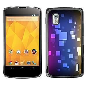 Cubierta de la caja de protección la piel dura para el LG GOOGLE NEXUS 4 / E960 - polygon pattern purple blue black