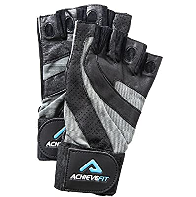 ACHIEVE FIT Weightlifting Gloves - Leather Palm for Fitness savvy Men & Women, Firm Grip, Control & Comfort for Weight lifting, Crossfit Training, Gym Workout - Standard or With Wrist Wraps