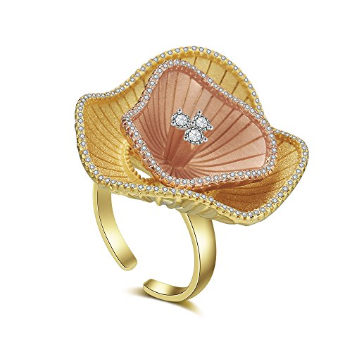 Aprilery Alloy Gold Plated Bloom Flower Crystal Paved Adjustable Rings for Women(Size 8, Size - Ring Cocktail Bloom Crystal