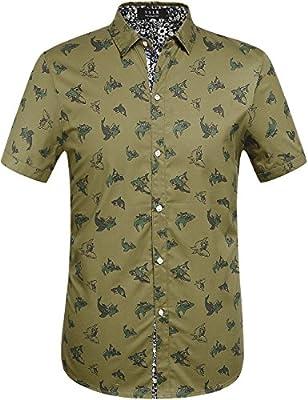 SSLR Men's Shark Print Casual Button Down Short Sleeve Shirt
