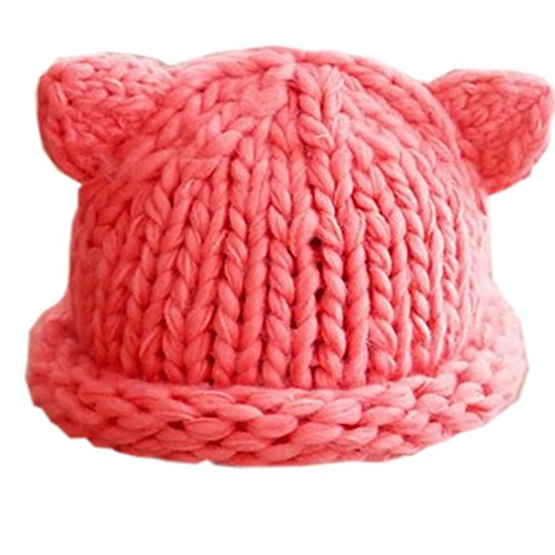 Price comparison product image ALLDECOR Handmade Knitted Women's Hot Pink Pussy Cat Hat Women's March